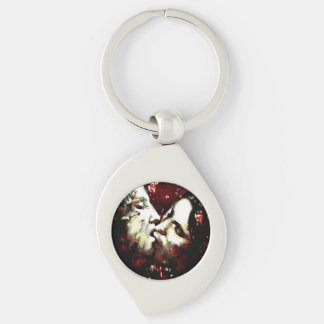 kissing in the rain.... Silver-Colored swirl key ring