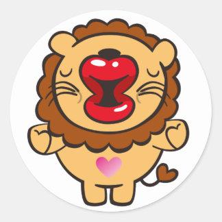 kissing lion round sticker