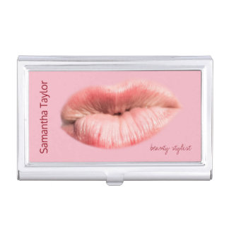 Kissing lips beauty stylist customizable business card cases