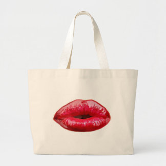 Kissing lips! large tote bag