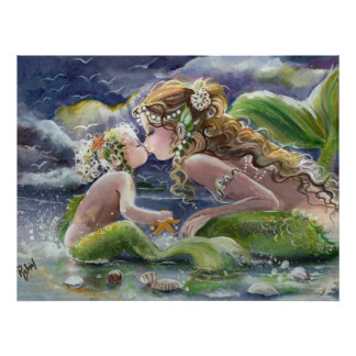 Kissing Mermaid and Baby poster