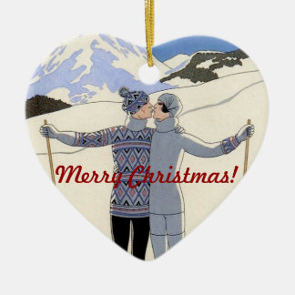 Kissing mountan skiers couple - Merry Christmas! Christmas Ornament