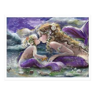Kissing Mum and Baby Mermaids in Purple Postcard