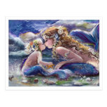 Kissing Mum and Child mermaids in Blue Postcard