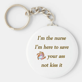kissing nurse basic round button key ring