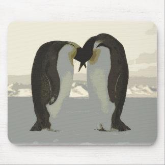 Kissing Penguins Mouse Pad
