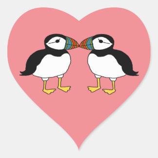 Kissing Puffins Heart Sticker