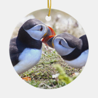 Kissing Puffins Ornament