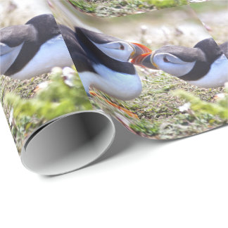Kissing Puffins Wrapping Paper