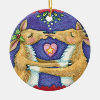 Kissing Reindeer Christmas Ornament