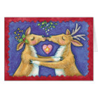 Kissing Reindeer Under The Mistletoe - Love At Chr Card