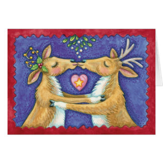 Kissing Reindeer Under The Mistletoe - Love At Chr Card