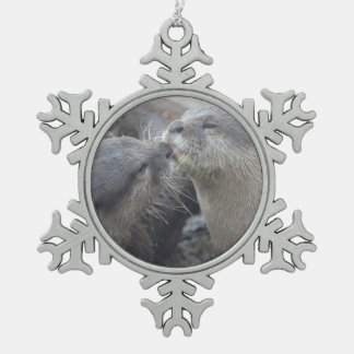 Kissing River Otters Snowflake Pewter Christmas Ornament
