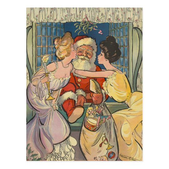 Kissing Santa Claus Vintage Christmas Postcard