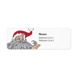 Kissing Santa Return Address Label