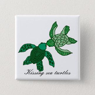 Kissing sea turtles button