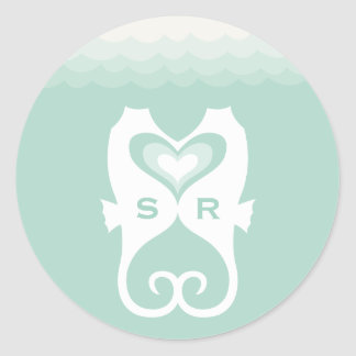 Kissing Seahorses Love Hearts Beach Summer Wedding Round Sticker