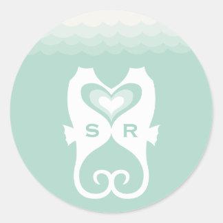 Kissing Seahorses Love Hearts Beach Summer Wedding Round Sticker