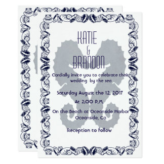 Kissing Seahorses Wedding Invitation in Navy