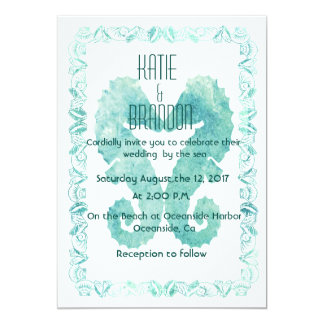 Kissing Seahorses Wedding Invitation in Turquoise