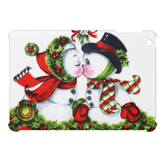 Kissing Snowman Couple Cover For The iPad Mini