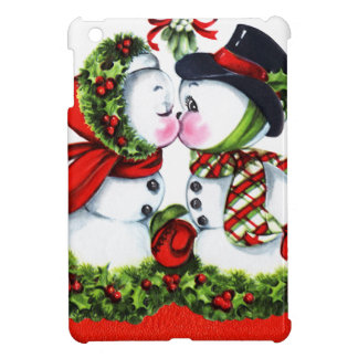 Kissing Snowman Couple iPad Mini Cases