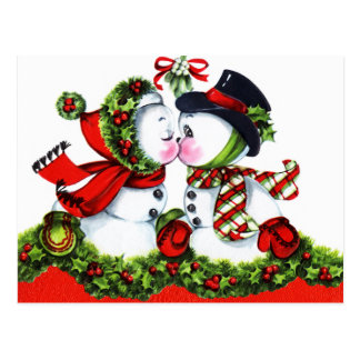 Kissing Snowman Couple Postcard