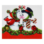 Kissing Snowman Couple Poster