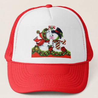 Kissing Snowman Couple Trucker Hat