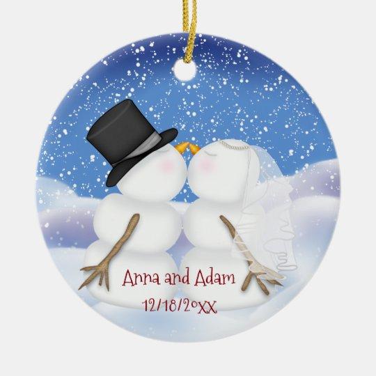 Kissing Snowmen Bride and Groom Christmas Ornament