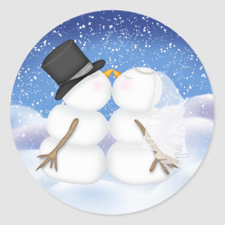 Kissing Snowmen Bride and Groom Sticker