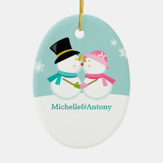 Kissing Snowmen Christmas Ceramic Oval Decoration