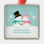 Kissing Snowmen Christmas Silver-Colored Square Decoration