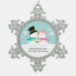Kissing Snowmen Newlyweds First Christmas Snowflake Pewter Christmas Ornament