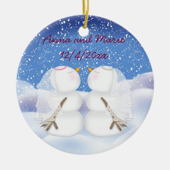 Kissing Snowmen two Brides Christmas Ornament