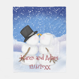 Kissing Snowmen Wedding Fleece Blanket Fun