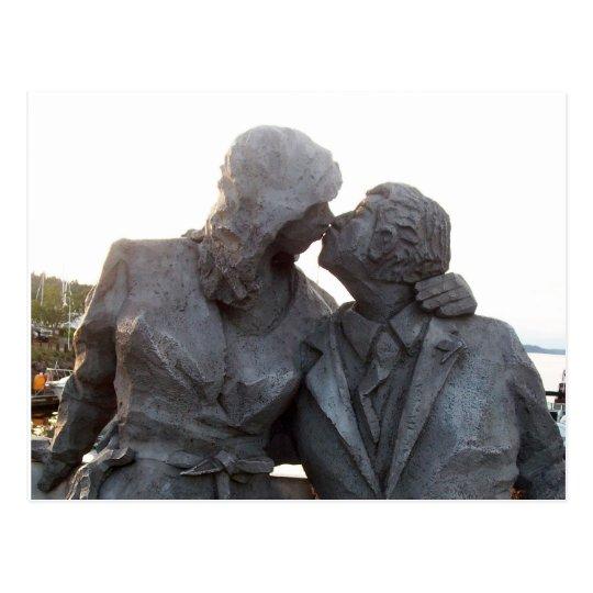 Kissing Statue Postcard
