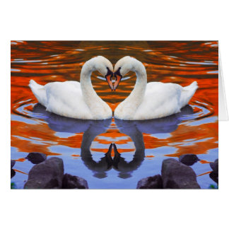 Kissing Swans in Love, Heart Shape Necks Card
