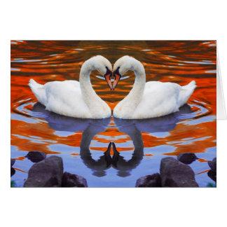 Kissing Swans in Love, Heart Shape Necks Greeting Card