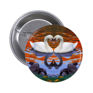 Kissing Swans in Love Heart Shape Necks Pin