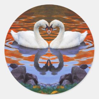Kissing Swans in Love, Heart Shape Necks Round Sticker