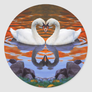 Kissing Swans in Love, Heart Shape Necks Classic Round Sticker