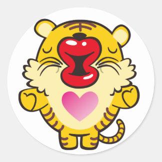 kissing tiger round sticker
