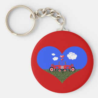 Kissing Tractors under Hearts Basic Round Button Key Ring