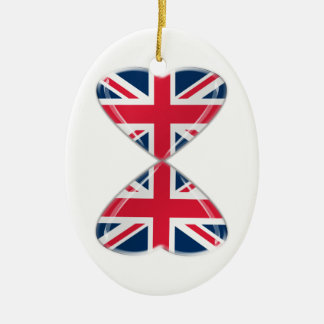 Kissing UK Hearts Flags Ceramic Oval Decoration