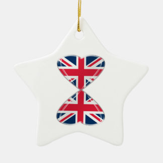 Kissing UK Hearts Flags Christmas Ornament