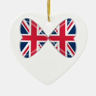Kissing UK Hearts Flags Christmas Ornament