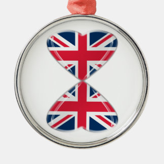 Kissing UK Hearts Flags Silver-Colored Round Decoration