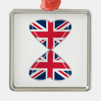 Kissing UK Hearts Flags Silver-Colored Square Decoration