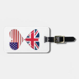 Kissing USA and UK Hearts Flags Art Bag Tag